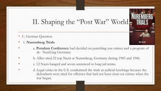"II. Shaping the ""Post War"" World"