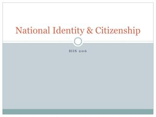National Identity & Citizenship