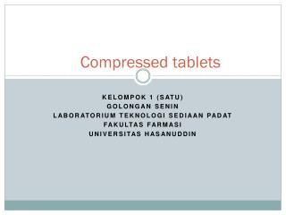 Compressed tablets