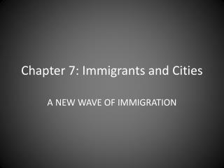 Chapter 7: Immigrants and Cities