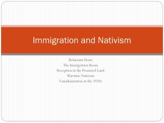 Immigration and Nativism