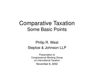 Comparative Taxation Some Basic Points