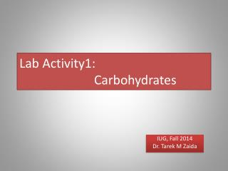 Lab Activity1: 		  Carbohydrates