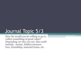 Journal Topic  5/3
