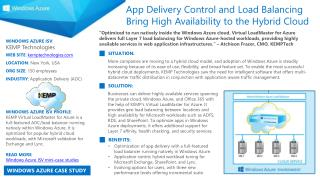 WINDOWS AZURE ISV :  KEMP Technologies WEB SITE :  kemptechnologies.com LOCATION :  New York,  USA