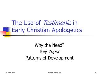 The Use of  Testimonia  in Early Christian Apologetics