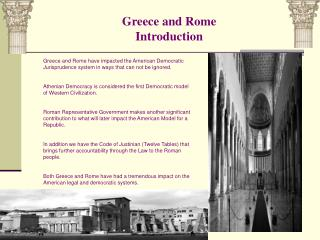 Greece and Rome Introduction