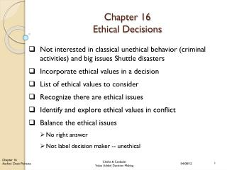 Chapter 16 Ethical Decisions