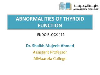 ABNORMALITIES OF THYROID FUNCTION