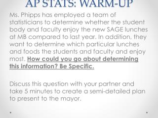 AP STATS: WARM-UP
