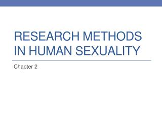 Research Methods in Human Sexuality