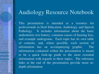Audiology Resource Notebook