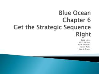 Blue Ocean Chapter 6 Get the Strategic Sequence Right