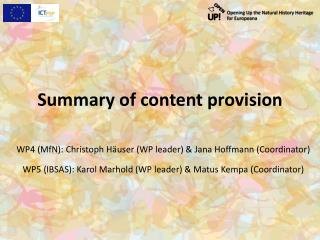 Summary of content provision