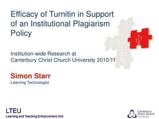 Efficacy of Turnitin in Support of an Institutional Plagiarism Policy