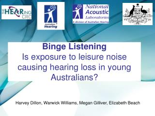 Binge Listening Is exposure to leisure noise causing hearing loss in young Australians?