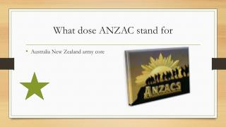 What dose ANZAC stand for