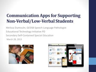 Communication Apps for Supporting Non-Verbal/Low-Verbal Students