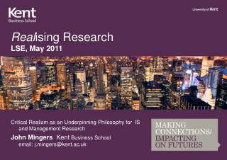 Real ising  Research LSE, May 2011