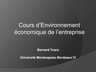 Cours d'Environnement économique  de l'entreprise