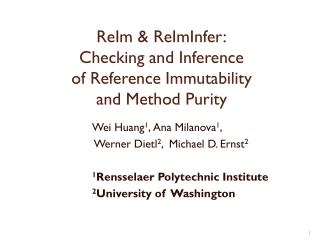 ReIm &  ReImInfer : Checking  and  Inference of  Reference  Immutability and  Method Purity