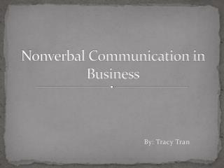 Nonverbal Communication in Business