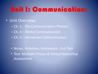 Unit I: Communication:
