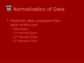 Normalization of Data