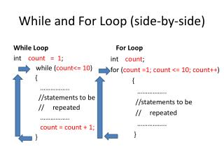 While and For Loop (side-by-side)