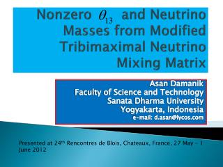 Nonzero       and Neutrino Masses from Modified  Tribimaximal  Neutrino Mixing Matrix