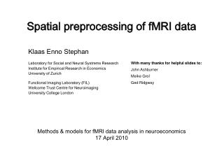 Spatial preprocessing of fMRI data