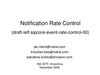 Notification Rate Control (draft-ietf-sipcore-event-rate-control-00)