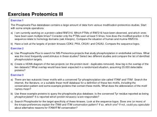 Exercises Proteomics III