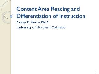 Content Area  Reading and Differentiation of Instruction