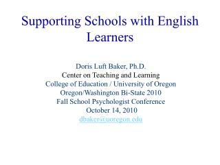 Supporting Schools with English Learners