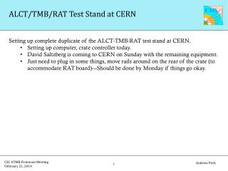 ALCT/TMB/RAT Test Stand at CERN