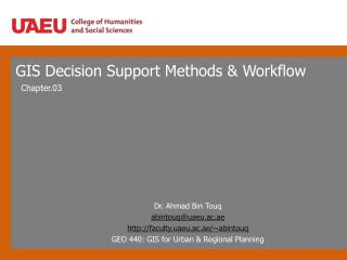 GIS Decision Support Methods & Workflow