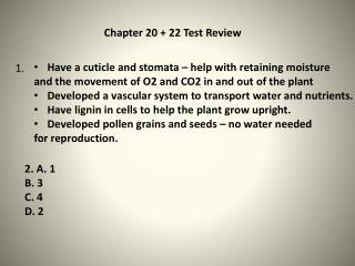 Chapter 20 + 22 Test Review