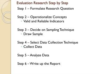 Evaluation Research Step by Step