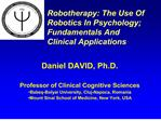 Robotherapy: The Use Of Robotics In Psychology; Fundamentals And  Clinical Applications