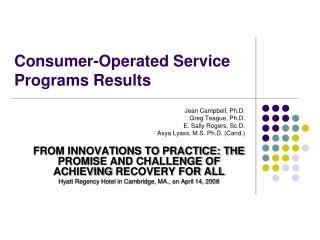 Consumer-Operated Service Programs Results