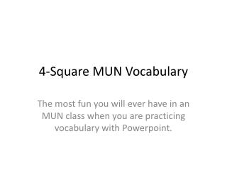 4-Square MUN Vocabulary