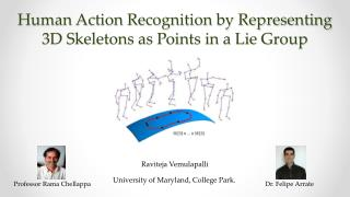 Human Action Recognition by Representing 3D Skeletons as Points in a Lie  Group