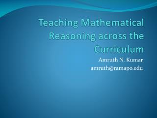 Teaching Mathematical Reasoning across the Curriculum