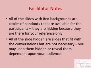 Facilitator Notes