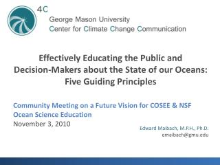 Community Meeting on a Future Vision for COSEE & NSF Ocean Science Education November 3,  2010