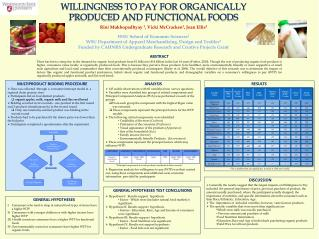 WILLINGNESS TO PAY FOR ORGANICALLY PRODUCED AND FUNCTIONAL FOODS
