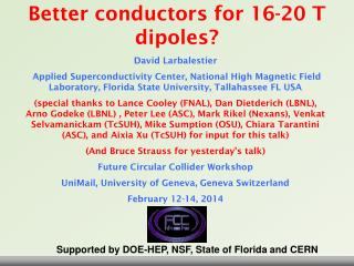 Better conductors for 16-20 T dipoles?