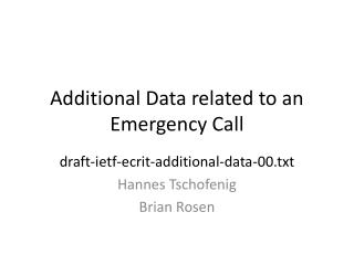 Additional Data related to an Emergency Call