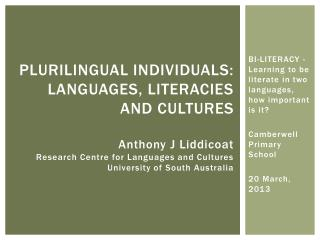 BI-LITERACY - Learning to be literate in two languages, how important is it ?